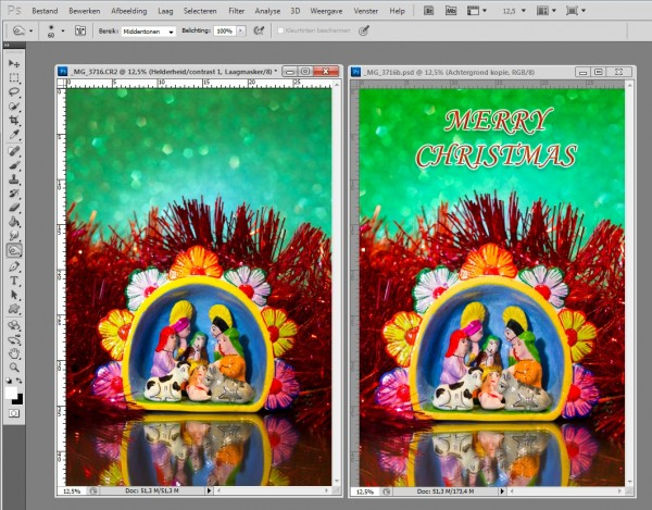 screenshot photoshop, kerstkaart