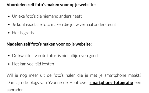 Blogpost, Smartphone Fotografie, Publicatie