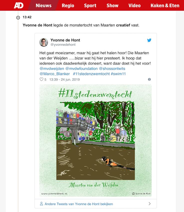 Screenshot tweet tekening #11stedenzwemtocht op liveblog AD