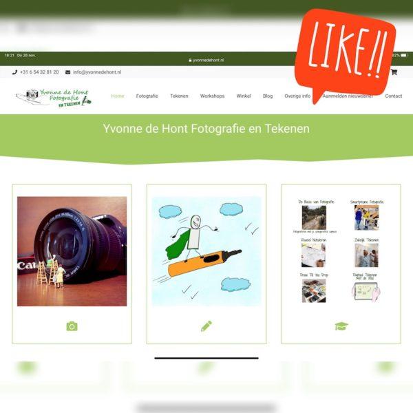 Vernieuwde website Yvonne de Hont Fotografie en Tekenen