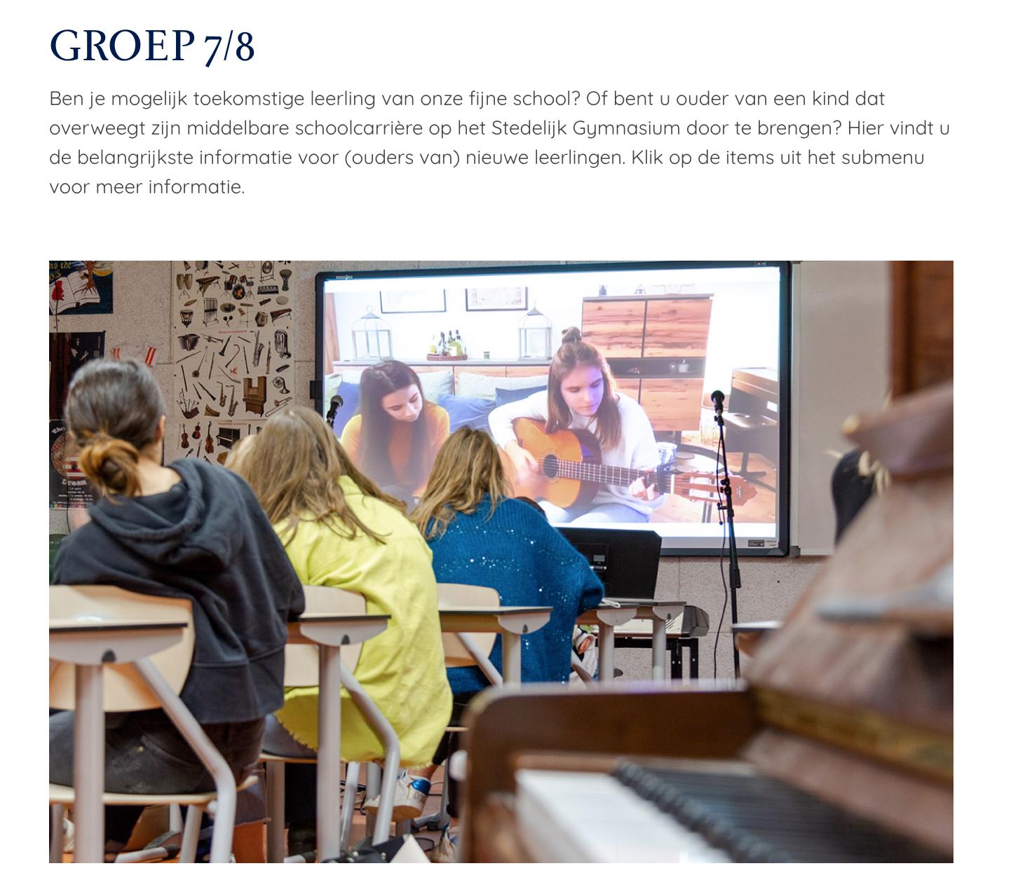 Fotografie voor de website van het Stedelijk Gymnasium in 's-Hertogenbosch