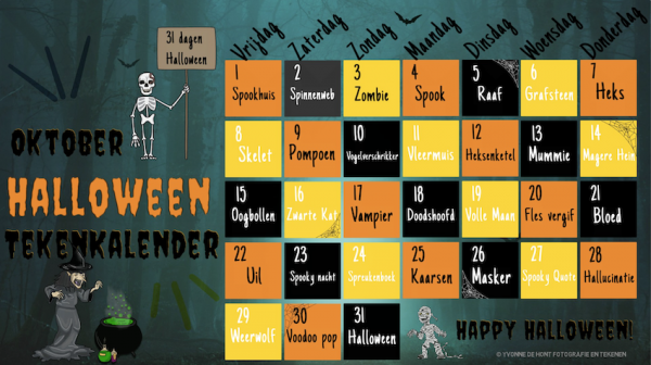 Oktober Halloween Tekenkalender
